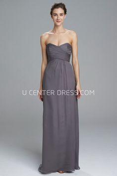 $120.59-Beautiful Sheath Sweetheart Sleeveless Chiffon Grey Long Bridesmaid Dress. http://www.ucenterdress.com/sheath-floor-length-criss-cross-sweetheart-sleeveless-chiffon-bridesmaid-dress-pMK_101005.html.  Shop for long dresses, designer dresses, casual dresses, occasion dresses, backless dresses, elegant dresses, black tie dresses, We have great 2016 fall bridesmaid dress for sale. Avialble in Gold, Yellow, Pink, Lavender Burgundy, Peach…#UCenterDress.com