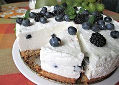 """Upečený sušenkový korpus potřený směsí z krabice """"Nepečený dort Dr. Oetker"""" vyšlehanou s bílým jogurtem a zakysanou smetanou, doplněnou o čerstvé borůvky."""