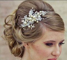 Bridal Updo with Pearly Hair Ornamentation.