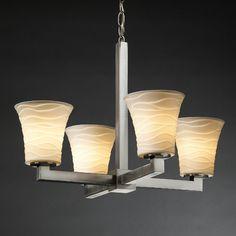 Justice Design Group Limoges Collection Chandelier   POR-8829-20-WAVE-NCKL   Destination Lighting