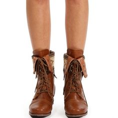 Whisky Lace Up Back Zipper Combat Boots ($33) ❤ liked on Polyvore