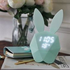 Only US$22.99 buy best creative 2.5w rabbit digital alarm led night light sound control rechargeable wall clock sale online store at wholesale price. US/EU direct. - Banggood Mobile