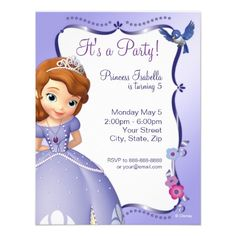 Sofia the First Birthday Invitation $1.70