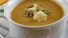 Pumpkin puree and vegetable broth form the base of this cream soup flavored with curry and soy sauce.
