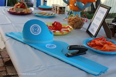 Octonauts Birthday Party: including links to printables and tips to make your… Fourth Birthday, 4th Birthday Parties, Happy Birthday Banners, Birthday Fun, Birthday Ideas, Summer Birthday, Octonauts Party, Elmo Party, Mickey Party