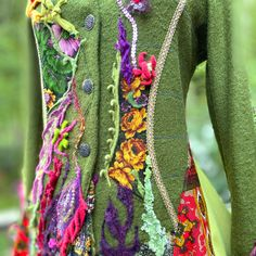 Front close up Eco Clothing, Recycled Clothing, Boho Plus Size, Sweater Coats, Sweaters, Floral Sweater, Plus Size Coats, Military Fashion, Refashion