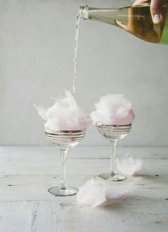 Champagne cocktails // fairy floss