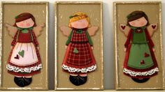 Handcrafted 3D decoupage three country girls..