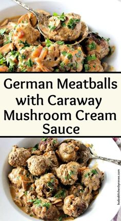 Frugal Food Items - How To Prepare Dinner And Luxuriate In Delightful Meals Without Having Shelling Out A Fortune Hearty German Meatballs With Caraway Mushroom Cream Sauce Is My Idea Of German Comfort Food. They're Easy To Make And Wunderbar To Eat Meatball Recipes, Meat Recipes, Dinner Recipes, Cooking Recipes, German Food Recipes, Best German Food, Dinner Ideas, Healthy Recipes, Mushroom Cream Sauces