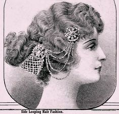 Hair Accessories Jewelry 1912 Edwardian hair updo with hair accessory/ jewellery. Edwardian Jewelry, Edwardian Era, Edwardian Fashion, Vintage Fashion, Fashion Art, Fashion Ideas, Edwardian Hairstyles, Vintage Hairstyles, Head Accessories