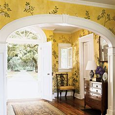southern living cottage entrances | Romantic Yellow Entry - SouthernLiving.com