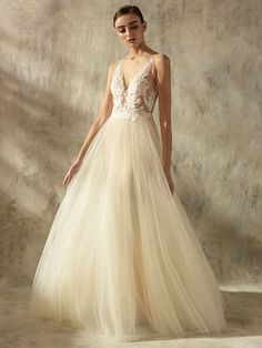 Leigh gown - V-neck tulle gown with tattoo-effect bodice, from Lusan Mandongus 2020 Bridal Collection. Wedding Dress Crafts, Rental Wedding Dresses, Tulle Wedding, Designer Wedding Dresses, Bridal Dresses, Wedding Gowns, Fit And Flare, Lusan Mandongus, Fairytale Bridal
