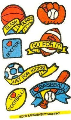 Sports Mello Smello Body Language scratch and sniff sticker tattoos - 1980's