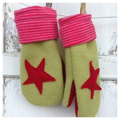 Felted Wool Mittens- Star Mittens-Women-Teen-Upcycled