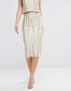 Image 4 ofTFNC Zig Zag Sequin Midi Skirt