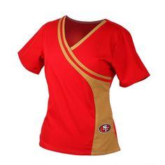966433de4ad San Francisco 49er's NFL Team Mock Wrap Scrub Top For Women Cute Scrubs,  Scrub Pants