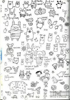 Page full of doodled animal doodles!