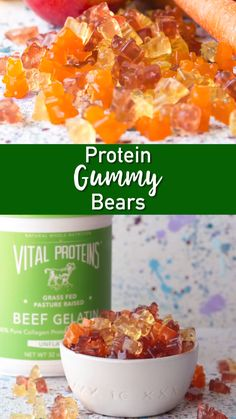 Homemade gummy bears with fresh fruit juice and gelatin. A great way to get more protein in kid's diets.