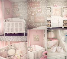 lovely pink & gray nursery with hand stenciled wall & white furniture.
