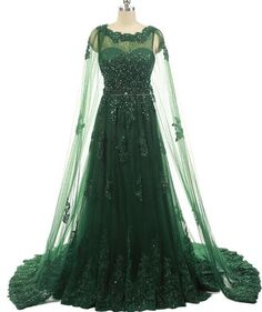 ee6131dbbcb Elegant Women Formal Evening Gowns Dresses Beaded Lace Prom Dresses With  Long Appliques Tulle Cape Emerald Green Evening Dress