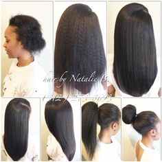 Our Natural Kinky hair is perfect for our naturalistas who want the versatility of wearing a thicker texture or a more sleek look! In this photo, you can see how straight this hair flat-irons out, if you decide to wear it straight! Order your bundles today online at www.naturalgirlhair.com. ---PERFECT PONY SEW-IN HAIR WEAVES by Natalie B. (312) 273-8693...IG: @iamhairbynatalieb...FACEBOOK: Hair by Natalie B. .....ORDER HAIR: www.naturalgirlhair.com.
