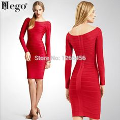 HEGO 2015 Fashion Rayon Plus Size Long Sleeve Off The Shoulder Party  Bandage Dress  With Factory Direct H035