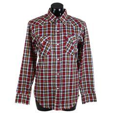 Vintage 90s, Check Shirt, Old West, Red, Orange, Black, 90s clothing, 90s fashion, 90s shirt, unisex, unisex shirt, 90s grunge, western wear by FannyAdamsVC on Etsy