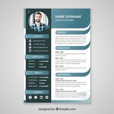 Curriculum template with flat design Free Vector Free Cv Template Word, Creative Cv Template, Resume Design Template, Cv Templates Free Download, Creation Cv, Modelo Curriculum, Curriculum Template, Curriculum Vitae Layout, Design Plat