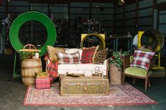 wedding lounge area - photo by Alicia King Photography http://ruffledblog.com/christmas-tree-farm-wedding-inspiration-with-tradition
