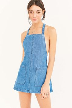 Saylor Ariel Washed Denim Mini Dress - Urban Outfitters