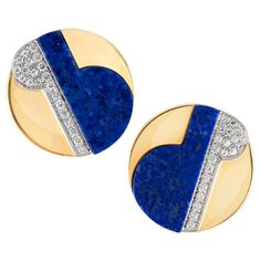 Lapis Lazuli Diamond Gold Earclips   From a unique collection of vintage clip-on earrings at https://www.1stdibs.com/jewelry/earrings/clip-on-earrings/