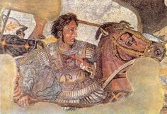 Battle of Issus 333 BC - Detail of the Alexander Mosaic, representing Alexander the Great on his horse Bucephalus, from the House of the Faun, Pompeii. Ancient Rome, Ancient Greece, Ancient Art, Ancient History, Greek History, Church History, Art History, Battle Of Issus, Perse Antique