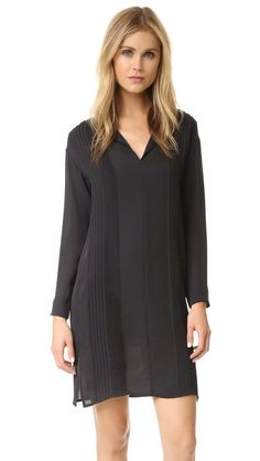 Vince Split Neck Pintuck Dress
