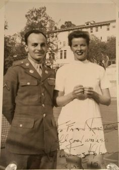 """thedivinemisshepburn: """"Katharine Hepburn and soldier Fred Korotkin. Signed and dated April 1946. """" I had this in my queue to post….damn!"""