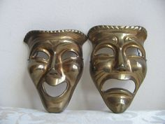 Vintage Comedy & Tragedy Brass Masks Metal by vintagenowandthen, $98.00