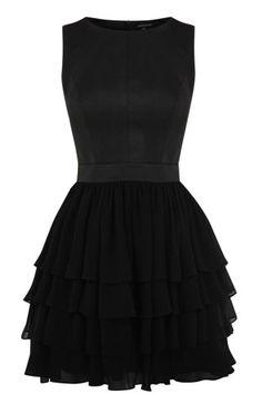 Black CHIFFON  LEATHER DRESS   Warehouse