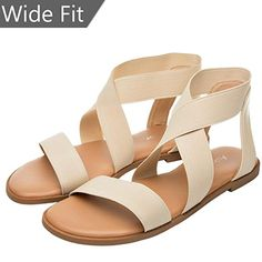 98942bdfc3e Women s Wide Width Flat Sandals - Open Toe One Band Ankle Strap Flexible  Buckle Gladiator Casual Summer Shoes    You can find out more details at  the link ...
