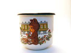 Vintage Soviet white enamel mug  bear with train by mishathebear, $16.00
