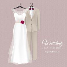 Élégant costume de mariage et robe de mariée Vecteur gratuit