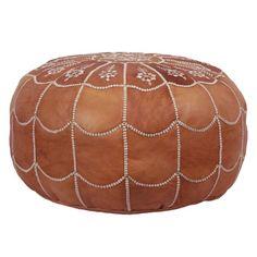 Tamar Leather Pouf in Dark Tan