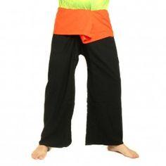 pantalones pescador tailandés extralargas - naranja en dos tonos negro - Algodón