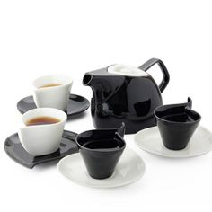 Contemporary simple bone china black white mixed teapot sets (teapot+cups+saucers)