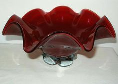 BLOOD Red MURANO Sculptural ART GLASS Bowl or VASE Footed FAZZOLETTO with LABEL