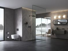 A bathroom design for a Danish client, set on the lake with atmospheric views. Swipe across to see the moodboard inspiration for this shot put together by our team of dedicated in-house stylists. Small Space Bathroom, Bathroom Goals, Bathroom Inspo, Bathroom Organization, Grey Bathrooms, Master Bathroom, Contemporary Baths, Shower Cubicles, Cabin Design