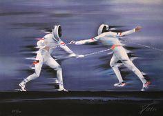 Victor SPAHN : Original Lithograph : Fencing