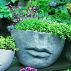 Campania International Large Faccia Cast Stone Planter