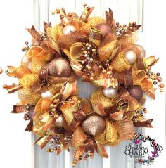 christmas wreaths to make | christmas-wreath-mesh-gold-bronze-silver-ornaments-1