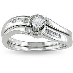 Miadora 14k White Gold 1/4ct TDW Diamond Bridal Ring Set (H-I, I2-I3) (14k Gold 1/4ct TDW Diamond Engagement Ring), Women's, Size: 14