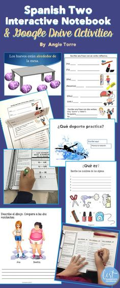 Need some hands-on, guaranteed-to-keep-students-on-task #InteractiveNotebookActivities for your #SpanishTwo class? The activities cover 27 concepts, most with multiple activities for each with tons of visuals. Four Google Drive Activities are included. Take a look!