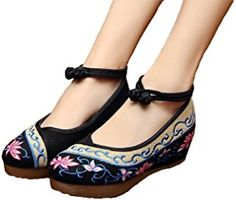 AvaCostume Old Beijing Womens Embroidery Summer Sandals Comfortable Casual Walking Shoes